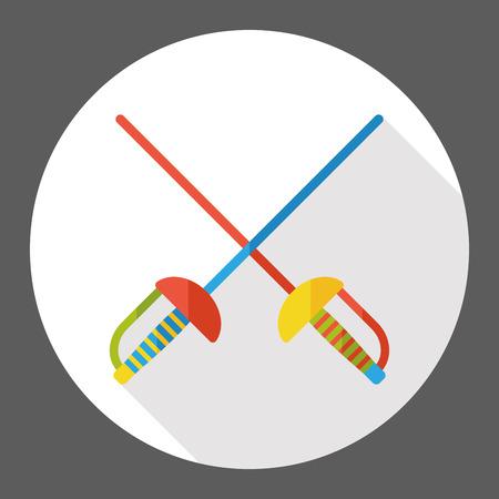 fencing: sport fencing flat icon Illustration