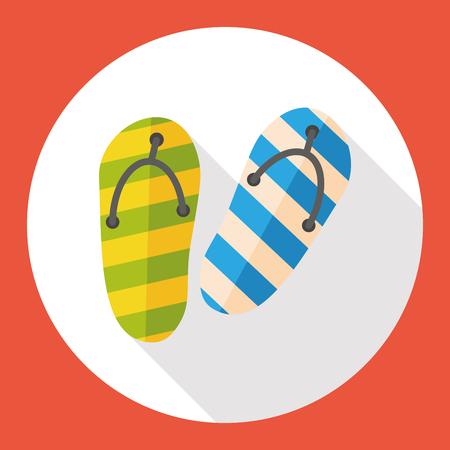 sandal: Deslizadores de la sandalia plana icono