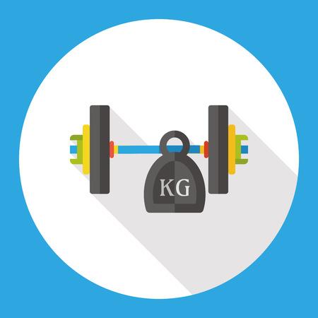 levantamiento de pesas: el deporte de levantamiento de pesas icono plana Vectores
