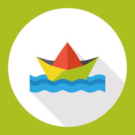 Barco de papel plana icono Foto de archivo - 51929178