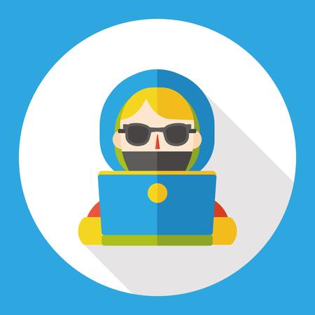 girl using laptop: girl using computer flat icon Illustration