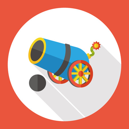 explosion risk: pirate cannon flat icon