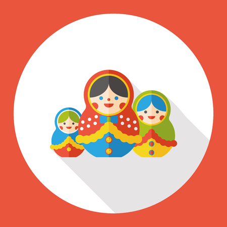 russian doll: toy doll flat icon