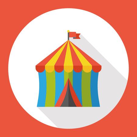 circo: Tienda de circo icono plana