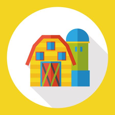 storehouse: farm warehouse flat icon Illustration