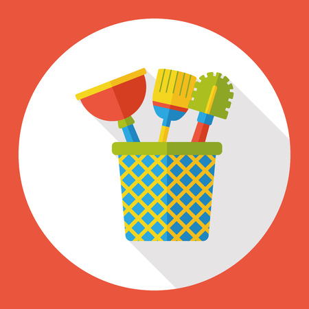 cleaning up: Toilet plunger and brush flat icon