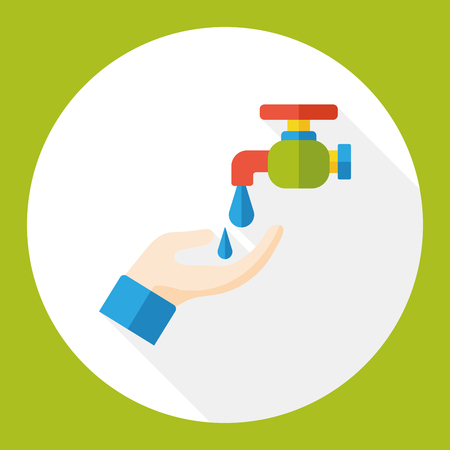 stopcock: water Faucet flat icon Illustration