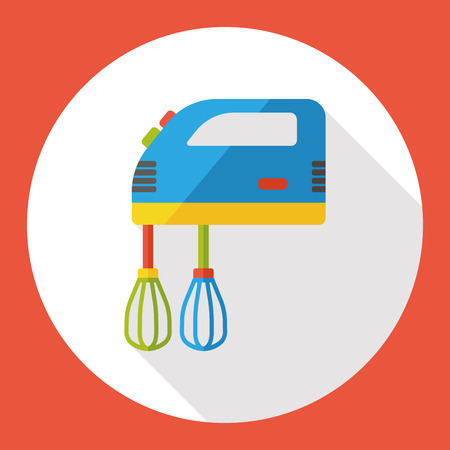 beater: utensilios de cocina batidor icono plana Vectores