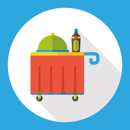 serving people: hotel tray flat icon Illustration