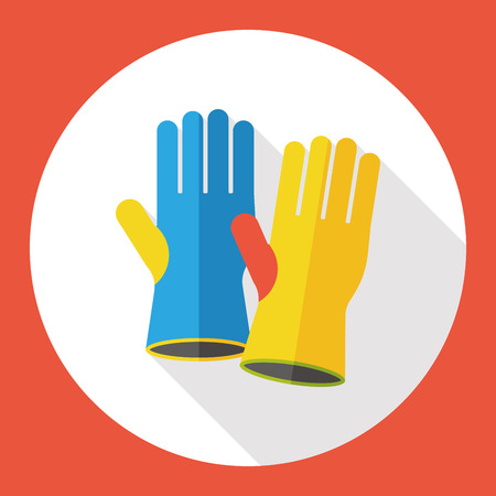 dish washing gloves: cleaning gloves flat icon