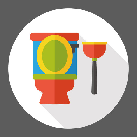 cleaning up: Toilet plunger flat icon