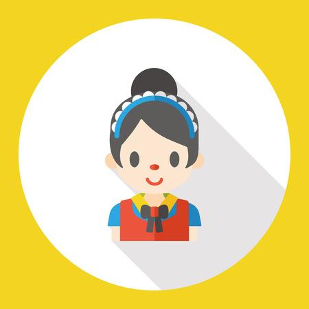 servicio domestico: mujer de limpieza icono plana Vectores