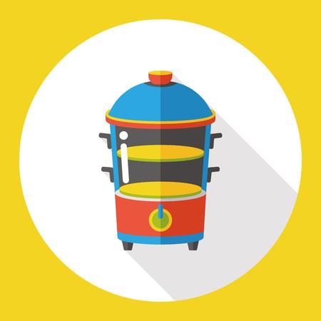 steam cooker: food steamer flat icon Illustration
