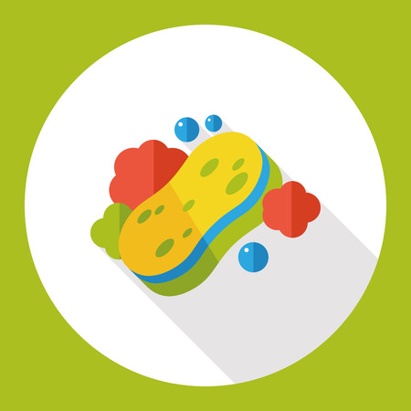 sponge: washing sponge flat icon Illustration