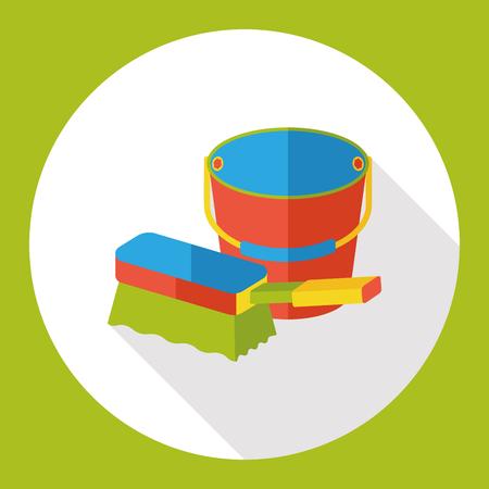 sponge and water bucket flat icon