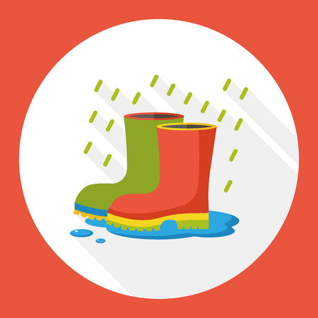 raining: weather raining rainboot flat icon Illustration