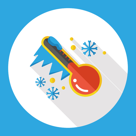 snowy: weather snowy thermometer flat icon