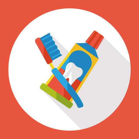 tooth paste: tooth paste and tooth brush flat icon Illustration