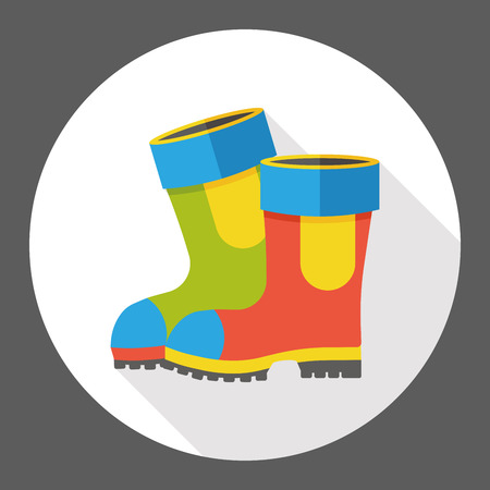 botas de lluvia: botas de lluvia icono plana Vectores