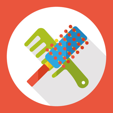 grooming: clean comb flat icon Illustration