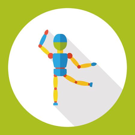 manipulated: puppet doll flat icon Illustration