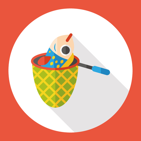 fishery: fishing net flat icon Illustration