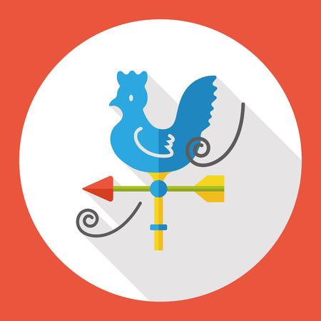 windsock: wind indicator cock flat icon Illustration