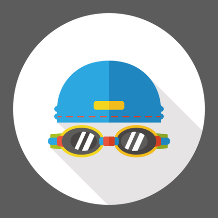 swimming cap: Goggles and swimming cap flat icon Illustration