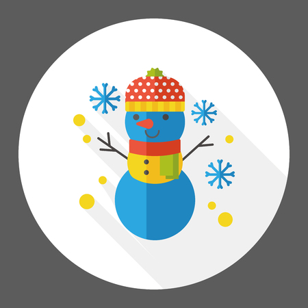 snowy: weather snowy snowman flat icon Illustration