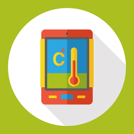 cellphone thermometer flat icon Illustration