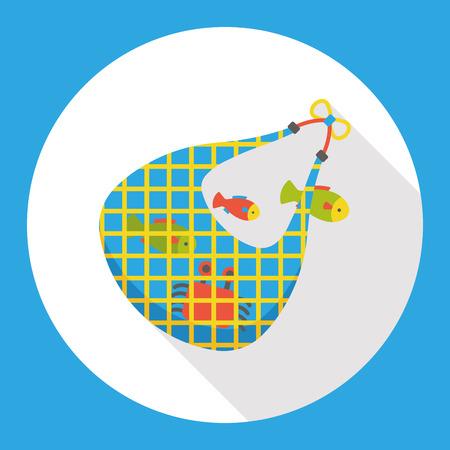 fisheries: fishing net flat icon Illustration