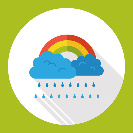 raining: weather raining rainbow flat icon Illustration