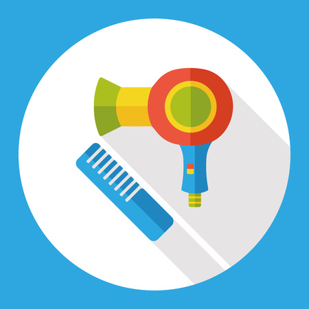 blow drying: hairdryer and comb flat icon
