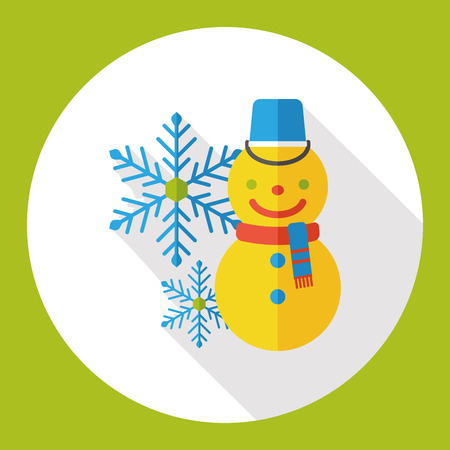 meteorology: weather snowy snowman flat icon Illustration