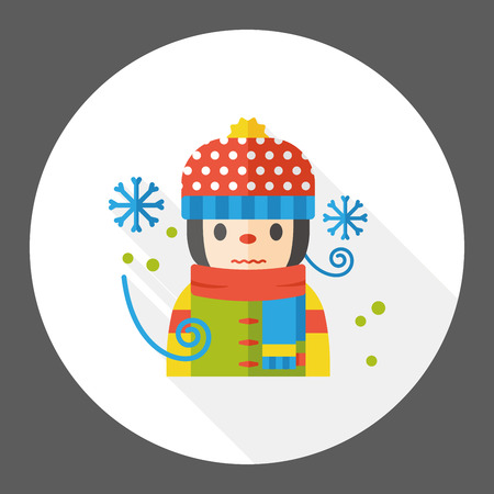 snowy: weather snowy girl flat icon