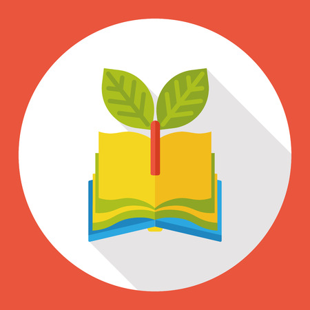 protection icon: Environmental protection concept flat icon; recycle book
