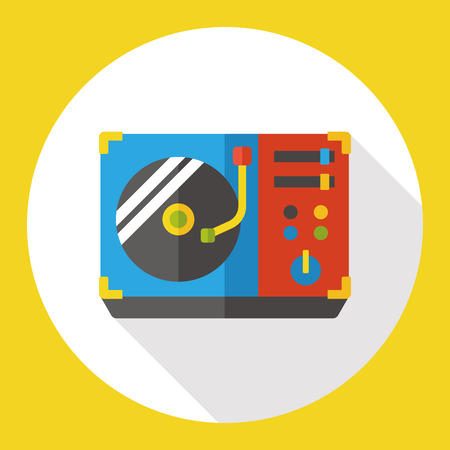 vinyl disk player: DJ disk acoustics flat icon