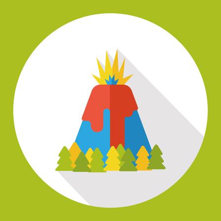 Volcano mountain flat icon Illustration