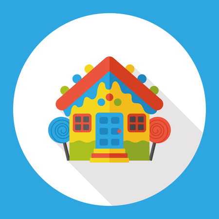 casita de dulces: cuento de hadas casa del caramelo icono plana