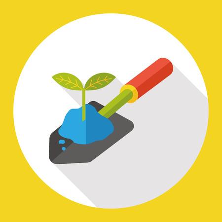 jardinage pelle icône plat
