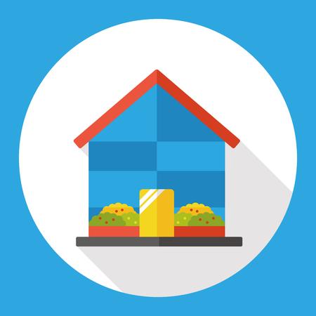 greenhouse: Gardening greenhouse flat icon Illustration