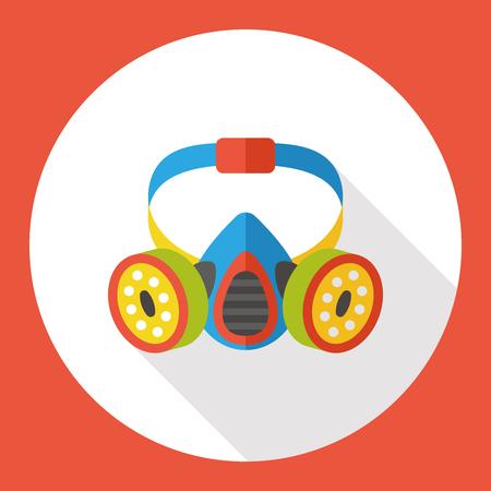 gas mask warning sign: Gas masks flat icon