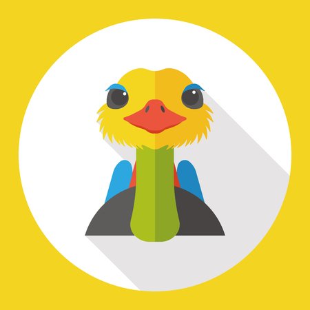 ostrich: ostrich zoo animal flat icon Illustration