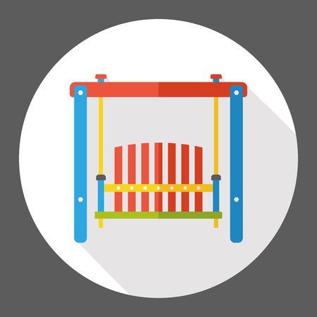 yard furniture: Gardening hanging chair flat icon