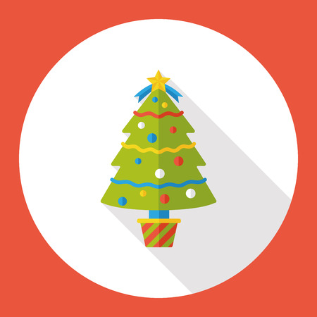 christmas icon: Christmas tree flat icon Illustration