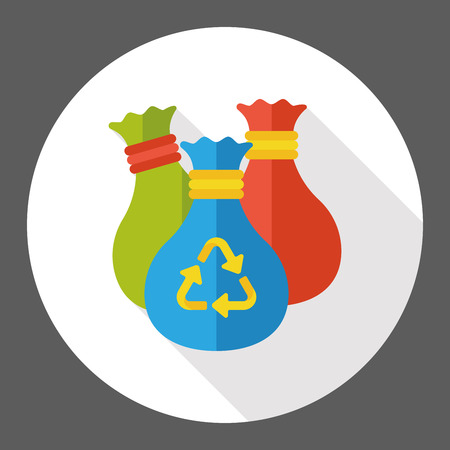 protection icon: Environmental protection concept flat icon; recycled garbage