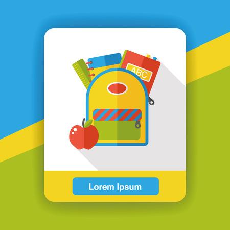 student travel: school bag flat icon