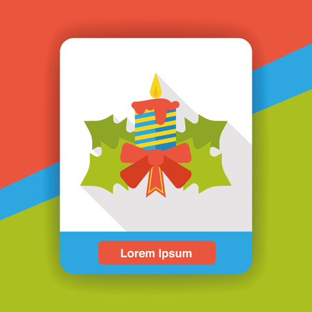 christmas fire: Christmas candle flat icon Illustration