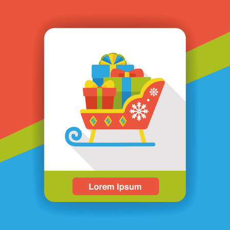 christmas icon: Christmas sleigh flat icon