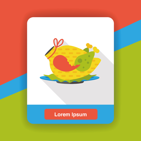 fried chicken wings: chicken flat icon Illustration